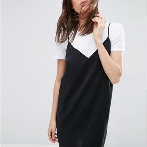 2-PIECE SET // Black Slip Dress + White Top